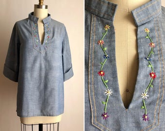 70s embroidered top OS ~ vintage chambray blouse