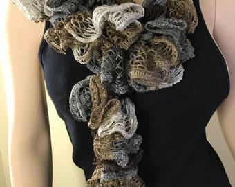 Crochet Ruffle Scarf In earth tones
