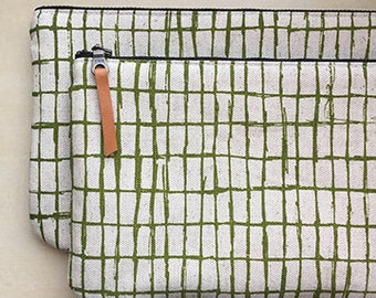 Grid Screen Printed Pouch -- Moss