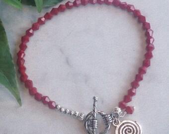 Czech Bead Bracelet/Red Bead Bracelet with Silver Charm