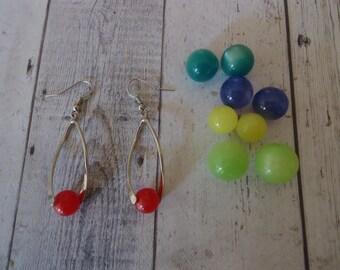 Vintage Silver Tone Interchangeable Moon Glow Bead Pierced Wire Earrings