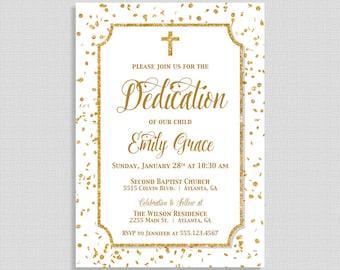 Gold Dedication Invitation, White & Gold Glitter Confetti Christian Dedication Invite, Gender Neutral, DIY PRINTABLE