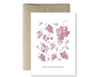 Watercolor Card - Love You Bunches Card - Love Card - Anniversary Card - Blank Card - Watercolor Fruit Card
