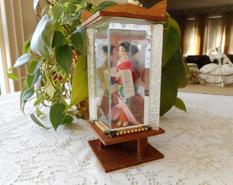 Vintage 1960's Geisha Doll in Mirrored Glass Case