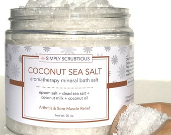 COCONUT MILK Bath Salt-Coconut Bath Salt-Mineral Bath Soak-Epsom Bath Salt-Detox Bath Salt- 16 oz.