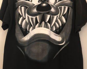 Vintage Looney Tunes Tasmanian Devil Black Tshirt