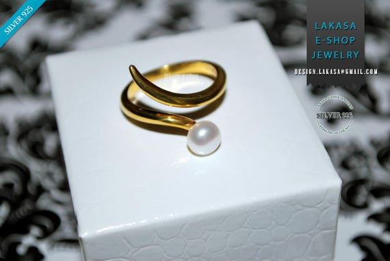 Freshwater Pearl Ring Sterling Silver Gold Handmade Jewelry Gift for her Woman Anniversary Princess Valentine Love Bridal Greek Style Modern