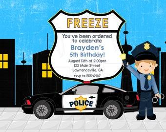 Police Invitation, police birthday party, cop invite, cop theme party, little boy police party, Policeman invite, police theme -Digital File