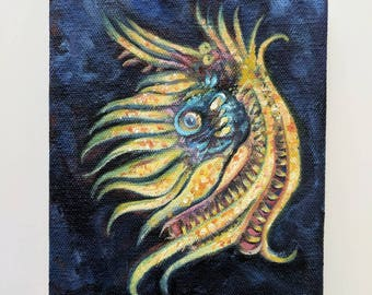 """BANANAS 5""""x7"""" Small Abstract Painting Squid Sea Creature Ocean Painting Alien Microbe"""