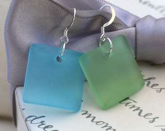 Recycled Sea Glass earrings - Green Blue or Red