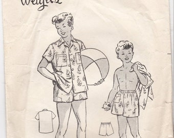 ON SALE 1940s -1950's Sewing Pattern -Weigel's 1549 Childs Beach Shirt and Shorts size 12
