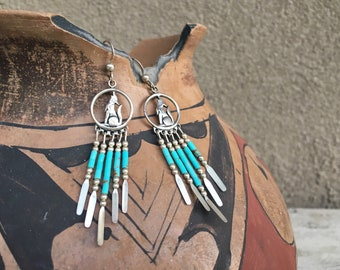 Sterling Silver Turquoise Earrings with Howling Wolf and Dangles Wolf Jewelry