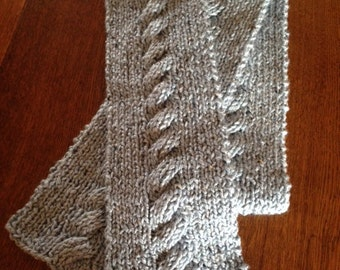 Hand knit cable scarf