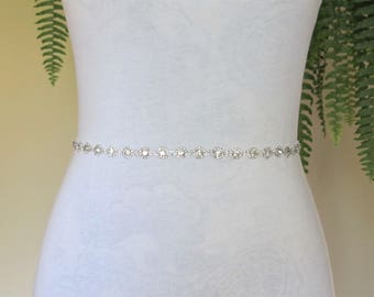 Thin  Silver Crystal Rhinestone Bridal Sash,Wedding sash,Bridal Accessories,Bridal Belt,Style #7