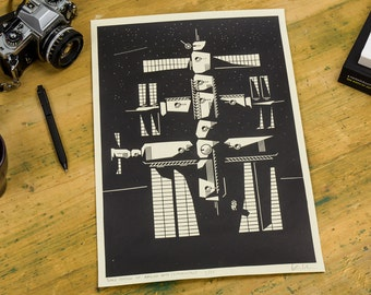 Space Station of Appliead Arts – Screenprint, poster, A3