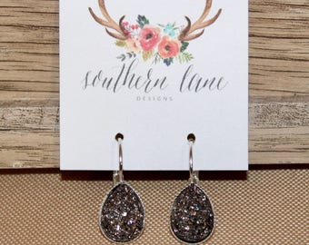 Gunmetal Teardrop Druzy Earrings