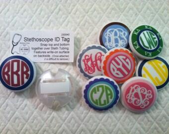 Monogrammed Stethoscope ID Tag / Badge for Nursing Students Doctors Nurses EMT