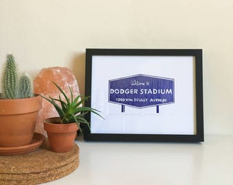 Welcome to Dodger Stadium Sign, framed Letterpress Print