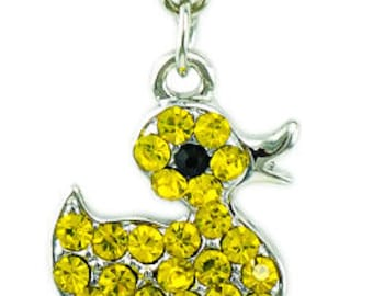 Rhinestone Yellow Duck / Duckie / Ducky Charm - Clip on - Ready to Wear