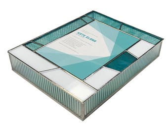 Keepsake Stained Glass Bat Mitzvah Invitation Box in Teal and White Glass With A Contemporary Geometric Design