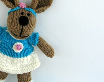 Easter Bunny Girl Toy - Spring Bunny - Hand Knit Toy Bunny Rabbit - Stuff Animal Plush Doll - Child Toy - Knit Toy - Kids Toy - Vanessa