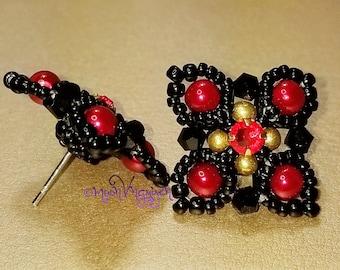 FancyTile Stud Earrings - Black/Red
