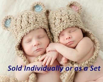 Bear Ear Flap Hat, Ready to Ship, Select One, Newborn Photo Prop, Crochet Baby Hat, Twin Hats, Baby Boy Hat, Baby Girl Hat, Newborn Baby Hat