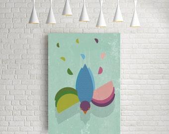 Geometric print, geometric poster, living room print, retro wall art, mid century modern, watercolor art, modern art print, bird