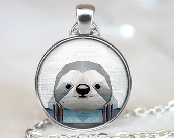 Sloth Pendant, Geometric Sloth Necklace, Sloth Art Jewelry, Polygon Sloth Pendant, Sloth Jewelry, Sloth Art Pendant, Bronze, Silver, 035