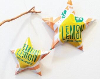 Choice: Peach Lemonade, Sparkling Lemon Peach Lemonade Stars Christmas Ornaments Soda Can Upcycled Diet