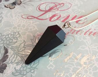 Black Tourmaline Pendulum, Crystal Pendulum Necklace, Healing Crystal Necklace