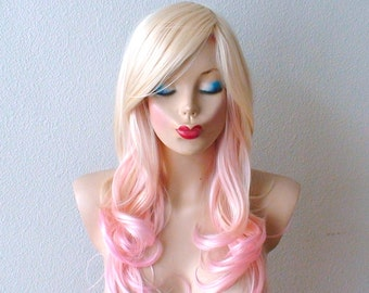 Blonde Pink Ombre wig. Pastel pink hair Curly hairstyle with long side bangs wig. Durable Heat resistant wig for Cosplay or Daily use.