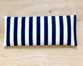 Yoga Eye Pillow, oreiller lavande lin, marin bleu marine et blanc rayure oreiller de maux de tête, Tension Stress Relief Relaxation cadeau
