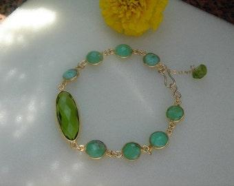 gold plated gemstone bracelet with Chrysoprase & Peridot!