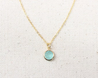 Mint Framed Glass Pendant / Dainty Gold Layering Necklace / Birthday, Bridesmaid Gift Idea