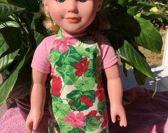 """18"""" Doll Apron Geraniums Red Pink Green Pretend Cooking Kitchen Hostess Gift Birthday Thank You Original design Play House Arvilla Ruby"""