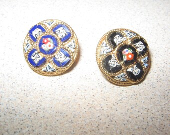 Button Pair of Mosaic Collectible Antique Vintage Sewing Clothing Buttons #PR84