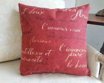 Rust Red, Grey, Yellow & Natural French Script Pillow Cover - Various Sizes