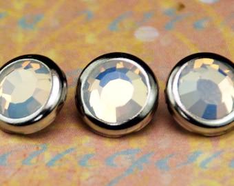 10 White Opal Crystal Hair Snaps - Round Silver Rim Edition -- Made with Swarovski Crystal Element Rhinestones