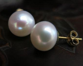 Pearl Stud Earrings, Real Pearl Earrings, Bridal Jewelry, 14k Gold Earrings, 9mm White Pearl, Handmade Earrings, Pearl Jewelry, Wedding Gift