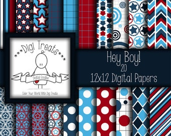 30% OFF~Hey Boy! digital scrapbook paper pack. 12x12 digital papers, backgrounds ~ ***instant download***