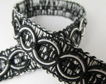 Black and White Circle Patterned 3/4 inch Fancy Braided Decorator Gimp Trim by the yard