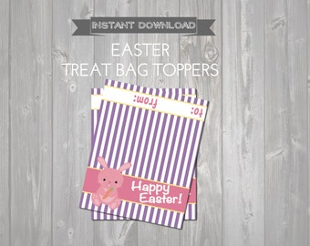 Easter Bunny Treat Bag Toppers - Printable Easter Favors - Kids Easter Exchange - DIY Printable Easter Bag Topper - Happy Easter with Bunny