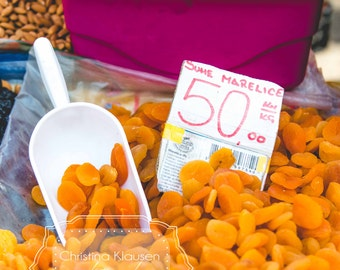 Food Photography. Dried Apricots. Almonds Photo. European Farmers Market Photo.  Photo for Kitchen. Orange. Kilo. Fine Art Photography