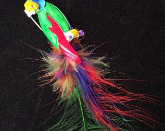 Unique Vintage Painted Colorful Parrot Brooch Pin with Feathers, Colorful Parrot Brooch
