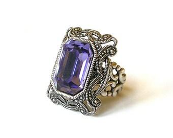 Tanzanite Statement Ring -  Swarovski Gothic Ring - More Colors - Victorian Gothic Jewelry