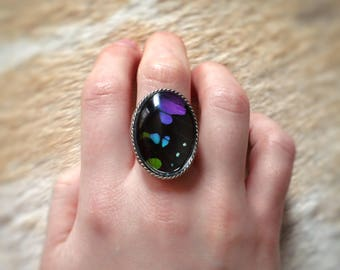 ADJUSTABLE Purple Butterfly Wing Ring // Sterling Silver Plated Ring // Real Butterfly Jewelry // Real Butterfly Ring