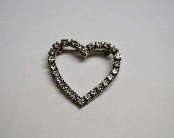 Vintage Rhinestone Heart Brooch in Silver Tone