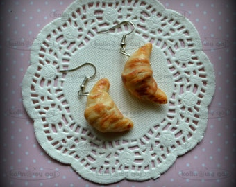 earrings fimo, polymer clay miniature food croissant cake