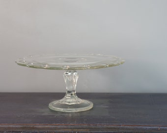 Vintage Indiana Glass Clear Cake Pedestal Stand 10.5""